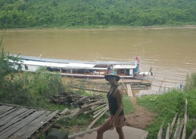 Rachelle Ginsberg And The Boat Transportation At Back In Louangphrabang, Laos