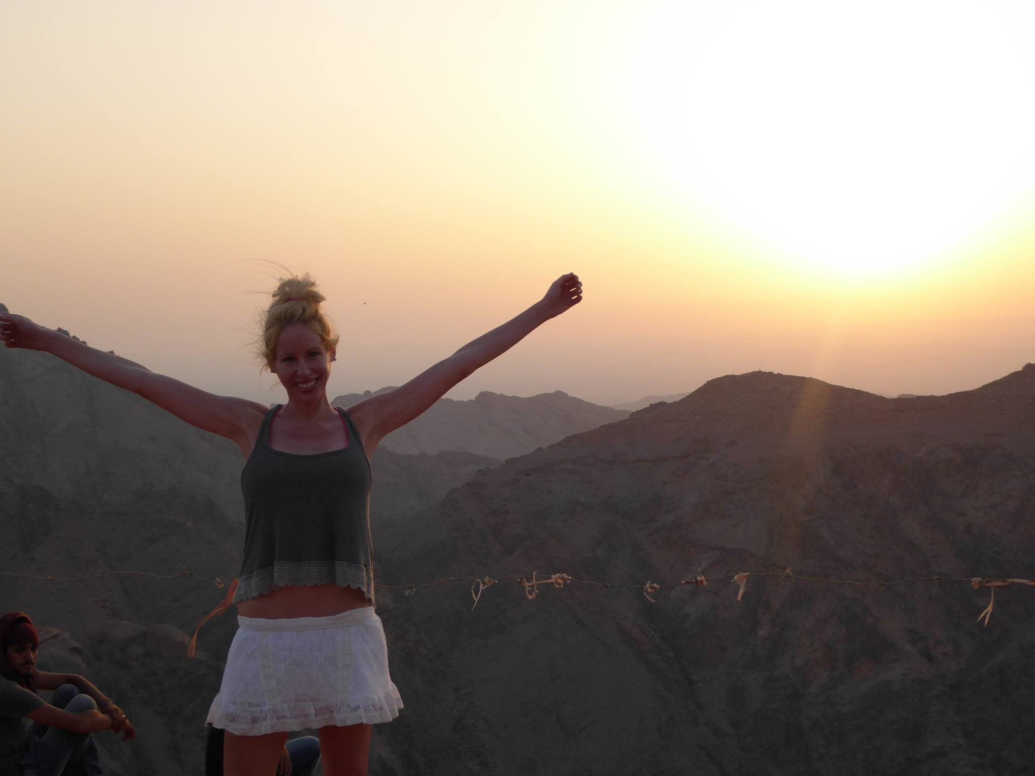 Rachelle Ginsberg at the top view of Mountain's in Isreal