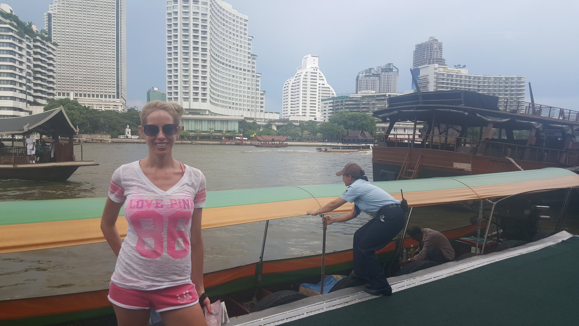 Rachelle Ginsberg boat ride on river in Ban Mae Nam, Thailand