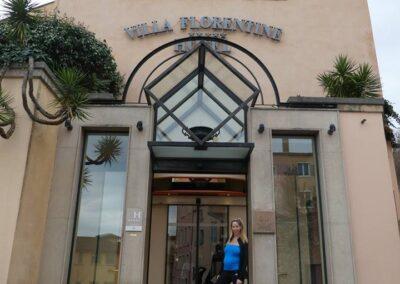 Rachelle Ginsberg In Front Of Villa Florentine Hotel
