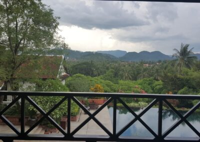 View From Balcony At Belmond Hotel In Louangphrabang, Laos